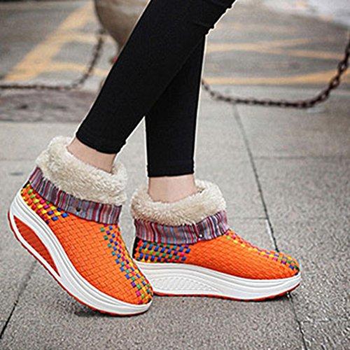Giy Womens Vinter Uformell Snø Ankelstøvletter Pels Foret Rund Tå Chunky Veving Utendørs Sneaker Snø Boot Orange