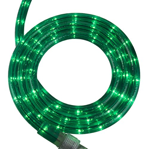 Incandescent Green Rope Light Kit – Light Rope Outdoor, Christmas Light Rope Light Color – Non LED Rope Light, Includes Rope Light Clips and Power Cord, 120V, ½ Inch, 2-Wire (12', Green)