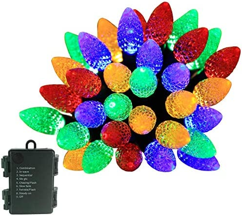 SEMILITS LED Battery Operated String Lights 50LED C6 Bulbs Christmas Strawberry Garden Decoration Lights