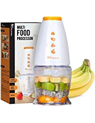 MYONAZ Portable Food Processor Electric 120V Mini Mincer Chopper with 11-Ounce Chopper Bowl Blender for Blending Baby Food Vegetables and Meat 300ML Blender (Orange)
