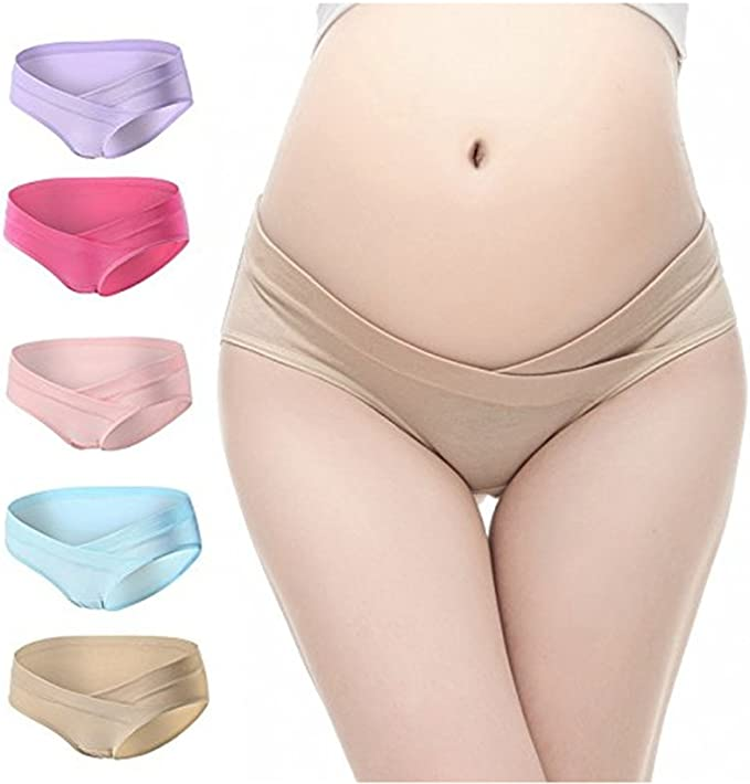 Multi Pack GEPAI 5 Pcs Womens Under Bump Cotton Maternity Panties Healthy Underwear
