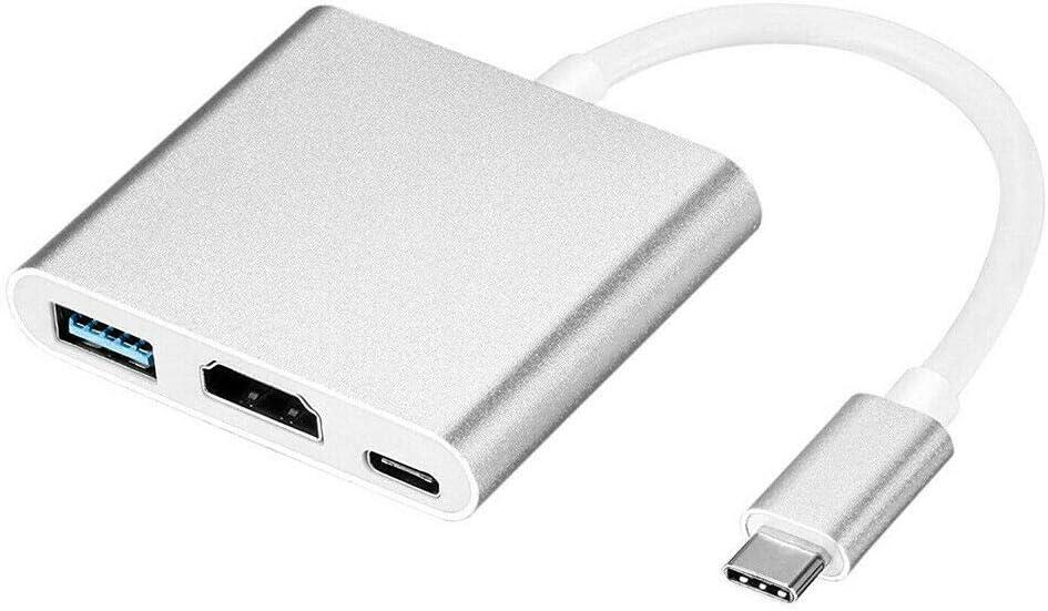 VJK Type C USB 3.1 to USB-C HDMI 4K USB 3.0 HUB Cable Digital AV Multi Port Adapter HDMI Adapter,USB-C Digital AV Multiport Adapter Fits for MacBook Pro/iPad Pro/S8+/S9+/Projector/Monitor