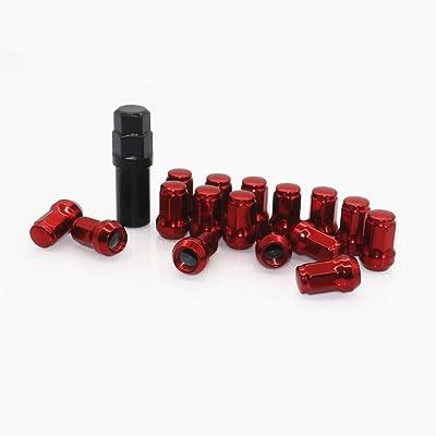 I33T Wheel Lug Nuts 12x1.5, M12x1.5 Lug Nut / 20 Pcs Length 32mm with 1 Key, Open End Lug Nut Set Universal Auto Red: Automotive