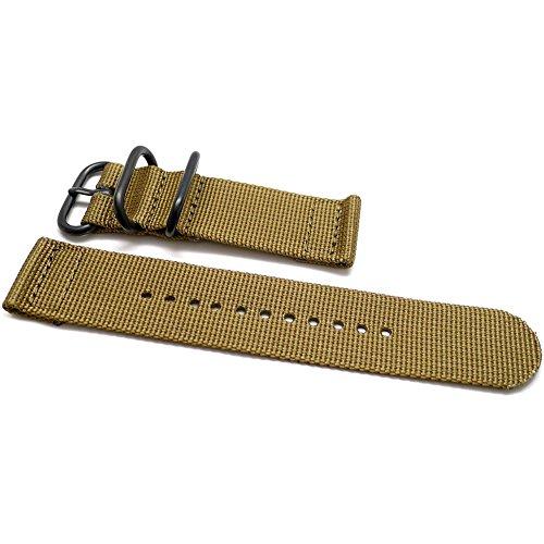 DaLuca Two Piece Ballistic Nylon NATO Watch Strap - Sand (PVD Buckle) : 24mm