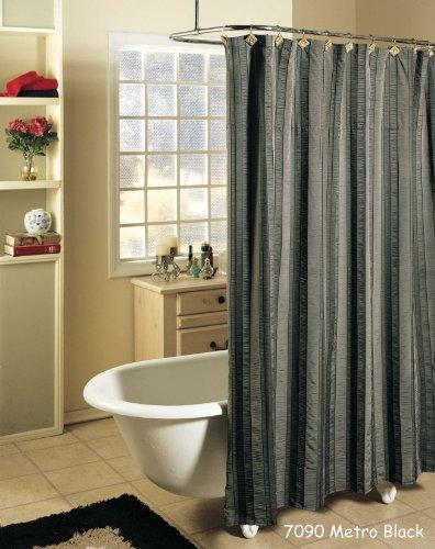Stripe Linen Blend (Creative Linens Metro Stripe BLACK GRAY Fabric Shower)