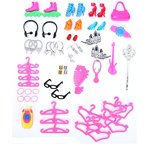113Pcs Barbie Doll Clothes Set, 15 Pack Barbie Clothes Party Grown Outfits Dresses and 98pcs Different Doll Accessories Shoes bags Glasses Necklace Tableware for Little Girl Birthday by Giraffe US (Image #3)