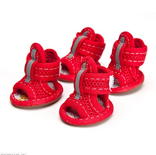 CoCocina Breathable Mesh Material Summer Dog Shoes Anti-Slip Small Animal Boots Paw Productive-Red-#1