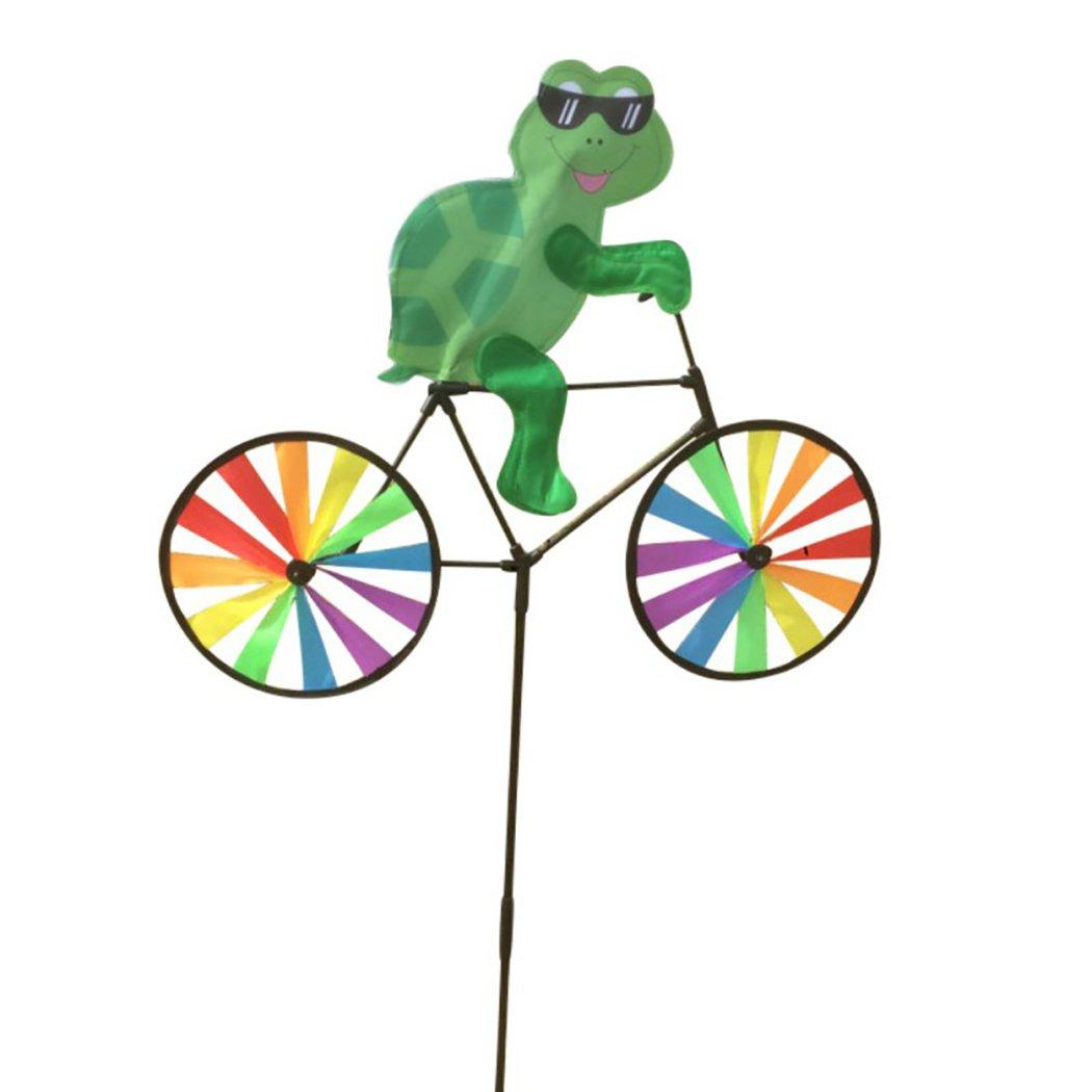 Fansport Molinillo de Jardín Hilandero de Viento Bicicletas Coloridas de Animales de Dibujos Animados Decoración de Jardín de Molino de Viento