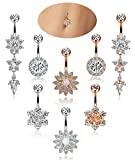 YOVORO 4-8PCS 14G 316L Stainless Steel Womens Belly Button Rings Navel Rings Flower CZ Dangle Barbell Body Piercing (c: 4 pcs silver-tone+4 pcs rose-gold)