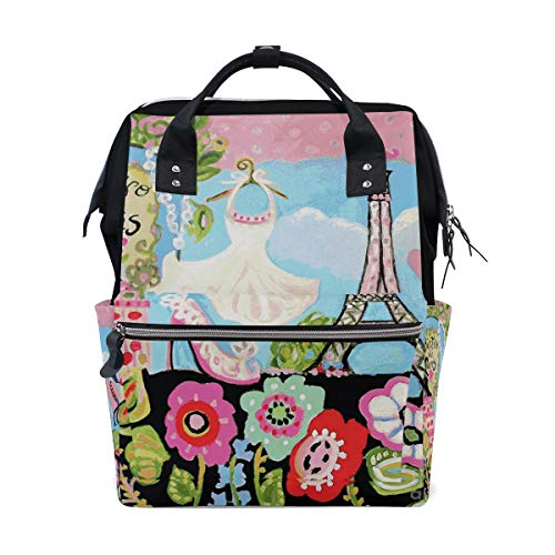Diaper Bags Paris Bistro Fashion Mummy Backpack Multi Functions Large Capacity Nappy Bag Nursing Bag for Baby Care for Traveling (Bistro Chic)