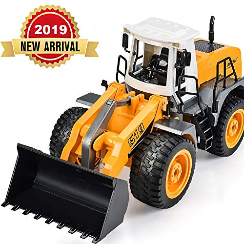 DOUBLE E RC Front Loader Bulldozer Remote Control Truck 8 Channel Construction Toys 2.4Ghz Radio Control with Simulated Lights and ()