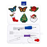 Embroidery Pen,Punch Embroidery Needles Magic Embroidery Pen Set Craft Tool with Plastic Box for Embroidery Threaders DIY Sewing