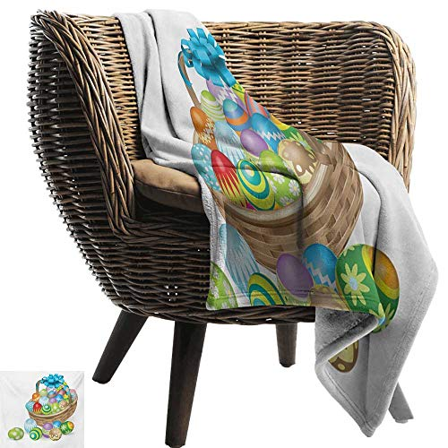BelleAckerman Flannel Throw Blanket,Easter,Basket of Colorful Ornamental Eggs with a Blue Ribbon Spring Season Easter Holiday,Multicolor,Winter Luxury Plush Microfiber Fabric 50