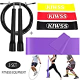 Resistance Loop Bands + Jump Rope + Fitness Exercise Band - Workout Equipment Accessories Bundle Pack Starter Kit for Travel & At Home Gym Exercise, Weight Loss, Yoga, Pilates, Cardio - SET of 3