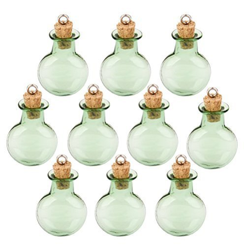 Tinksky Mini Tiny Green Glass Cork Bottles Round Flat Vial Wishing Bottle DIY Pendants for DIY, Arts Crafts, Projects, Home Decoration, Birthday Gift, Party Favors, Pack of 10 ()