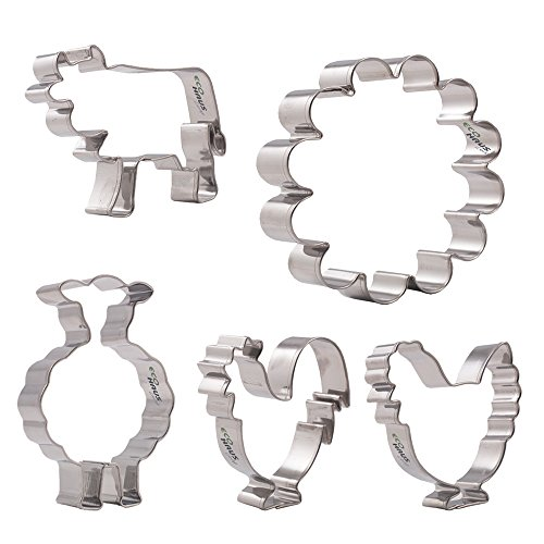 (Farm Cookie Cutter Set - 5 pcs Stainless Steel easter hen rooster lamb tree Shaped - Vegetable Cutters Easy To Clean - Decorations for Fondant Fruit Mold Dough Keks Vegan Biscuits)