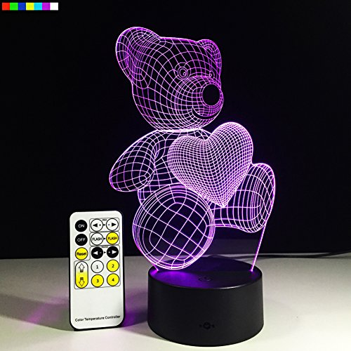 Night Lights for Kids Teddy Bear 7 Colors Change with Remote 3D Nightlight Help Kids Fell Safe at Night or As A Gift Idea for Women or Girls by Easuntec (Teddy Bear Heart)