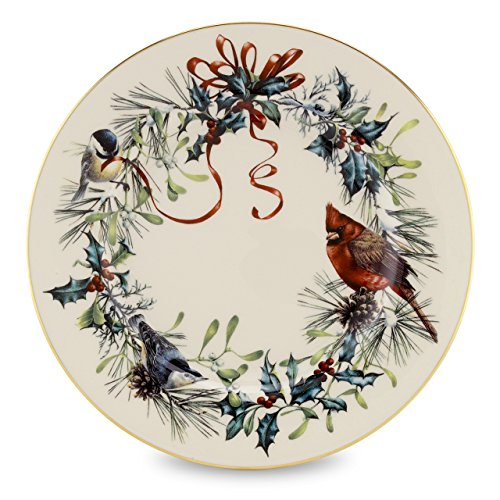 Lenox Winter Greetings Salad Plate,Ivory, Gold (Greetings Christmas)