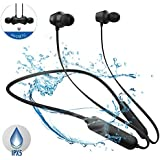 Qi Hong Bluetooth Headphones, Lightweight Wireless Earbuds with Magnetic Connection, IPX5 Water Resistant Bluetooth 4.1 Sports Earphones for Running, Built-in Mic, 9 Hrs Work Time