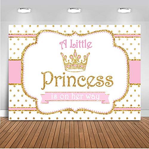 Mocsicka Little Princess Photo Backdrop 7x5ft Vinyl Gold