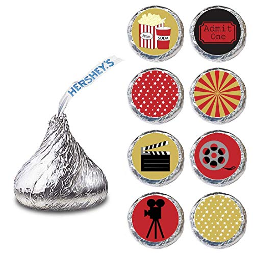 Movie Night Label for HERSHEY'S KISSES® chocolates - Cinema Candy Sticker Party Favor - Set of 240