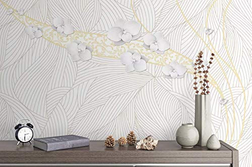 Murwall Floral Wallpaper Stripe Pattern Wall Mural Orchid Flower Wall Print Gold Texture Wall Art Living Room Bedroom