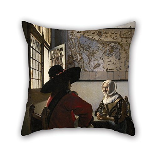 Vermeer Dot - Oil Painting Johannes Vermeer - De Soldaat En Het Lachende Meisje Pillow Covers 20 X 20 Inches / 50 By 50 Cm Gift Or Decor For Son Dinning Room Play Room Kitchen Wedding Bf - Each Side