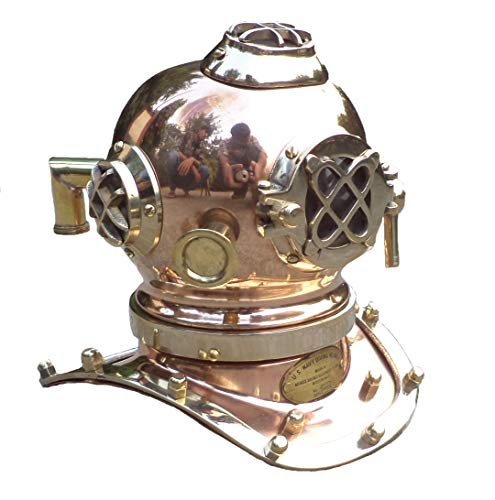Collectibles Buy Antique Marine Mini Diving Helmet Replica Mark Us Navy Nautical Copper Finish (Copper)