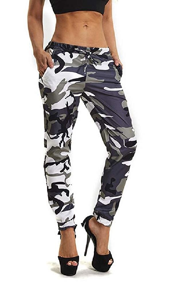 Sweatwater Women Casual Camo Elastic Waist Straight Leg Jogger Pants