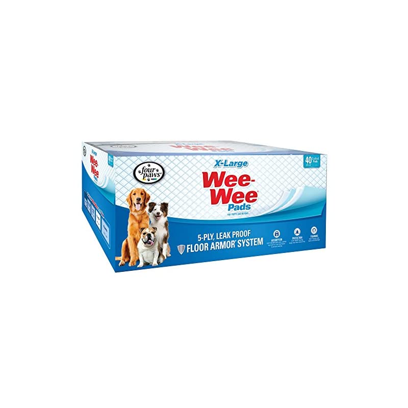 dog supplies online wee wee dog pee pads extra large | 40 count | puppy training pee pads for dogs | xl size