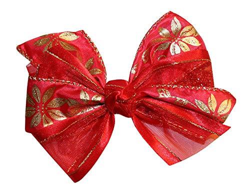 Webb Direct 2U Girls Golden Poinsettia Christmas Hair Bow Alligator Clip 8060A