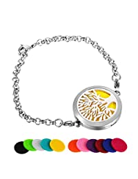 HooAMI Tree of Life Aromatherapy Essential Oil Diffuser Bracelet Stainless Steel Locket Bracelet