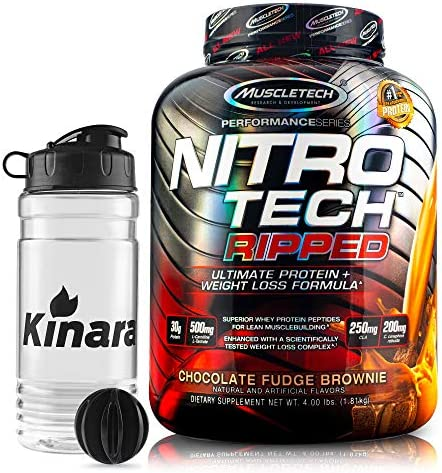 NitroTech Ripped Ultra Clean Whey Protein Isolate Powder 4lbs 42 Servings – F-R-E-E Shaker Bottle – Weight Loss Formula, Low Sugar, Low Carb Fitness Shake Chocolate Fudge Brownie