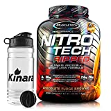 NitroTech Ripped Ultra Clean Whey Protein Isolate Powder 4lbs 42 Servings - F-R-E-E Shaker Bottle - Weight Loss Formula, Low Sugar, Low Carb Fitness Shake (Chocolate Fudge Brownie)