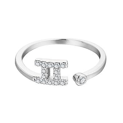 Amazon Qiandi 925 Sterling Silver Gemini Star Constellation Zodiac Zircon Ring Christmas Girl Birthday Gift Jewelry