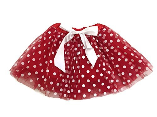 Toddler Red Tutu (Rush Dance Ballerina Girls Dress-Up Princess Fairy Polka Dots & Ribbon Tutu (Kids (3-6 Years Old), Red & White (Valentine's)))