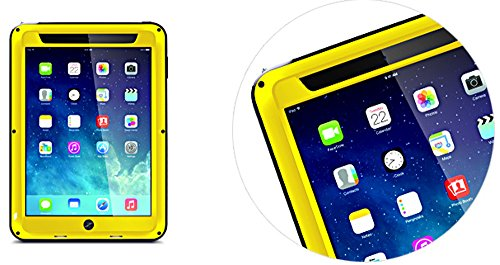 Case for Apple iPad 2 / iPad 3 / iPad 4 (9.7 inch), LOVE MEI Brand Aluminum-Silicone Hybrid Metal Waterproof Shockproof with Tempered Glass Cover YellowTwo-Years Warranty - 719 Glasses