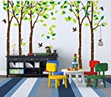 ANBER Giant Jungle Tree Wall Decal Removable Vinyl Sticker Mural Art Bedroom Nursery Baby Kids Rooms Wall Décor
