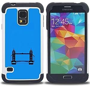"Pulsar ( Pintura Támesis London Bridge Art Blue"" ) SAMSUNG Galaxy S5 V / i9600 / SM-G900 V SM-G900 híbrida Heavy Duty Impact pesado deber de protección a los choques caso Carcasa de parachoques [Ne"