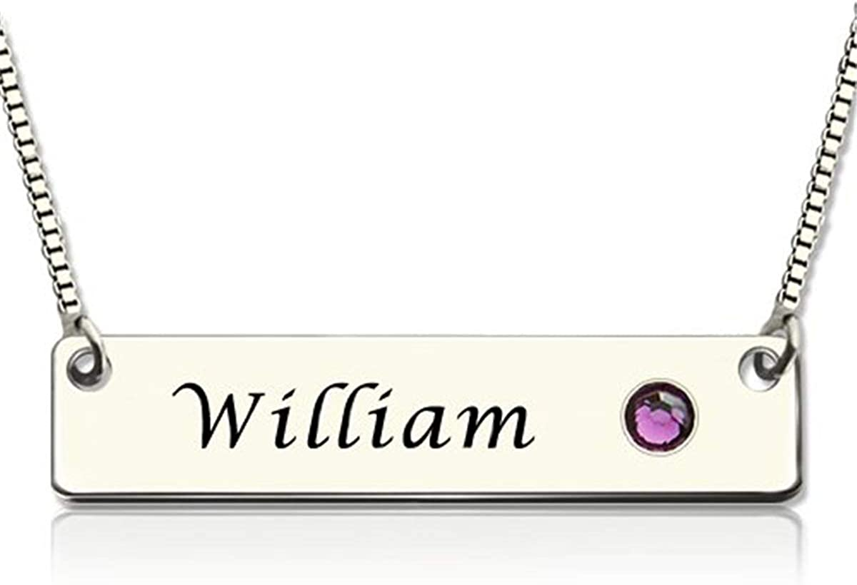 Custom Name with Birthstone Necklace Charm Jewelry Gift for Women//Girls gfcrgaf Personalized Bar Necklace
