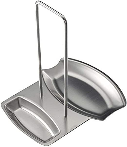 Stainless Steel Spoon Rest Stand Holder with Bowl Cooking Utensil Holder A