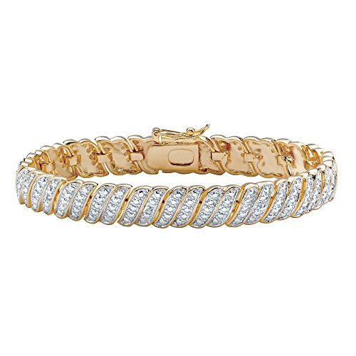 (White Diamond Accent 14k Gold-Plated Two-Tone Pave-Style S-Link Tennis Bracelet)