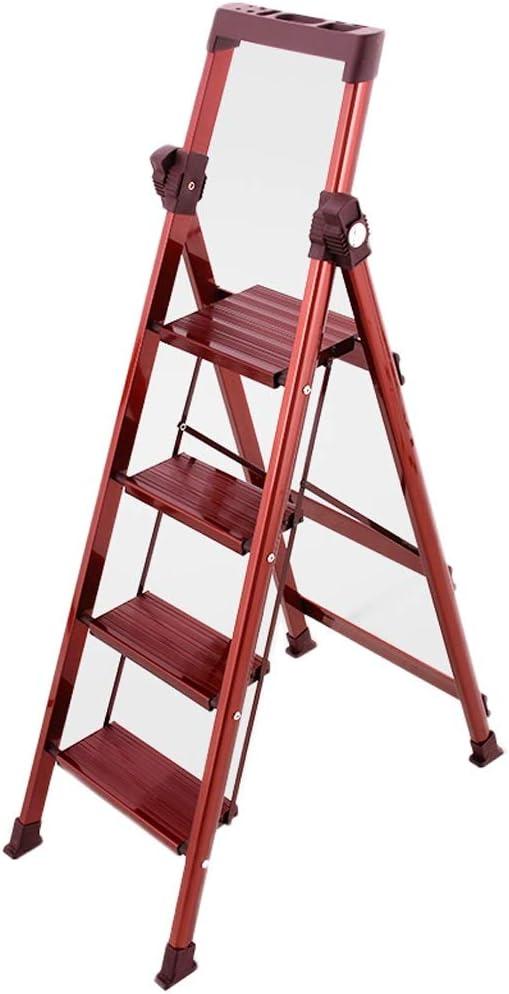 M-Y-S Escalera de 4 escalones, escalera de taburete plegable y liviana con almacenamiento de herramientas de agarre Antideslizante Uso de pedal robusto y ancho for escaleras de mano portátiles for el: Amazon.es: