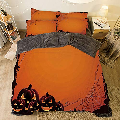 Flannel 4 Piece Cotton Queen Size Bed Sheet Set for bed width 6.6ft Winter Holiday Pattern by,Halloween Decorations,Grunge Spider Web Pumpkins Horror Time of Year Trick or Treat,Orange Seal Brown for $<!--$138.88-->