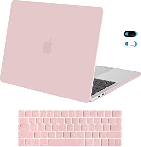 MOSISO MacBook Pro 13 inch Case 2019 2018 2017 2016 Release A2159 A1989 A1706 A1708, Plastic Hard Shell Case & Keyboard Cover Skin & Webcam Cover Compatible with MacBook Pro 13 inch, Rose Quartz