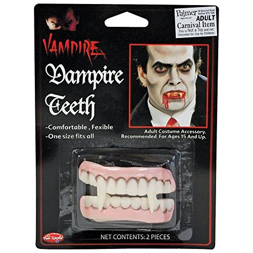 [Vampire Dracula Fangs Teeth Horror Halloween Adults Kids Scary Monster Canines SFX Make up Fake Teeth Set Accessory by Fancy Dress] (Dracula Makeup)
