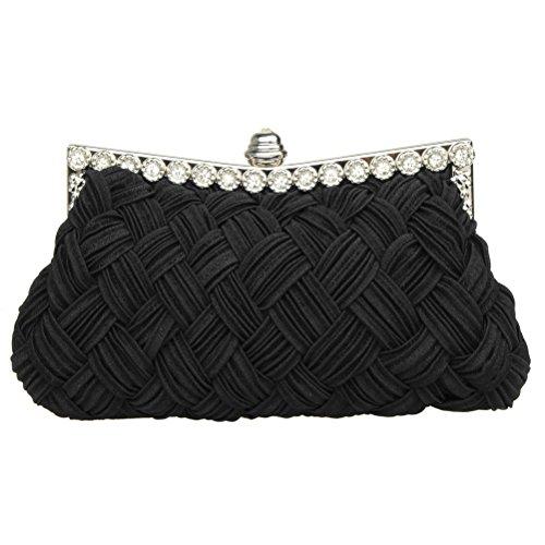sicai Womens noche embrague bolsas boda novia trenzado Rhinestone bolso de mano bolso de mano negro