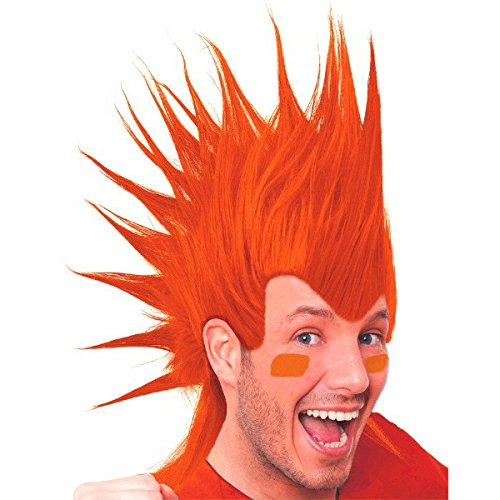 Amscan Party Perfect Team Spirit Crazy Mohawk Wig (1 Piece), Orange, 11 x - 11 Wig