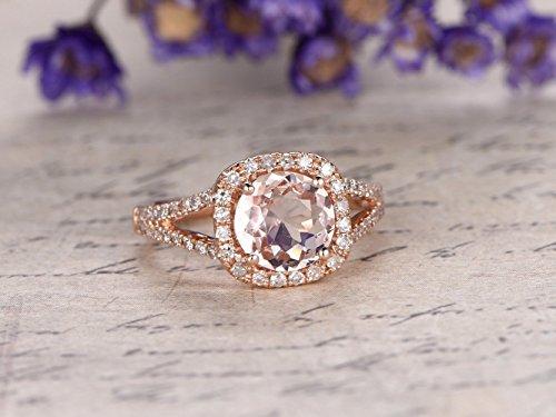 (7mm Round Cut 1.2ct Morganite Engagement Ring SI I-J Diamond Wedding Band 14k Rose Gold,Bridal Ring,Promise Ring,Round Cut,Halo Stacking Ring Split Shank)