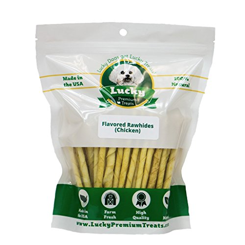 Lucky Premium Treats Chicken Basted Rawhide Dog Treats for Small Dogs Made in The USA Only, Basted Chicken Rawhide Twists, 35 Chews ()